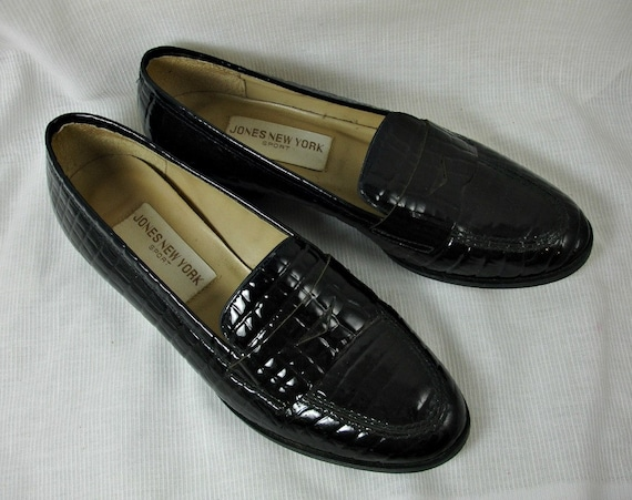 Vintage Black Patent Leather Penny Loafers by Jones New York