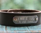 Childrens or X-SMALL Bracelet, Childrens Leather Bracelet, Childrens Engraved Bracelet, Childrens Jewelry