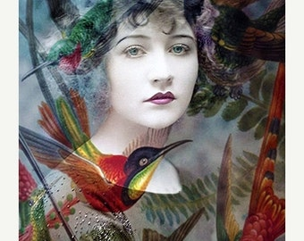 Valentine Sale, Fine Art Print, Giclee Archival Print, Woman Portrait, Portrait, Photomontage, Collage, Humming Birds
