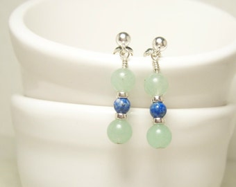 Grass and Sky Earrings, Green and Blue Gemstones  - Sterling Silver