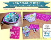 Easy Stand Up Bags: Camera Case and Pencil/Art/Crochet Case 4girlsdesigns INSTANT DOWNLOAD PDF Sewing Pattern