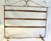 Earring Rack, flat metal, copper finish, 72 holes - holds 36 pair