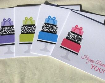 Birthday Cards  -  Zebra Print Birthday Cake Card Set  -  Set of 8