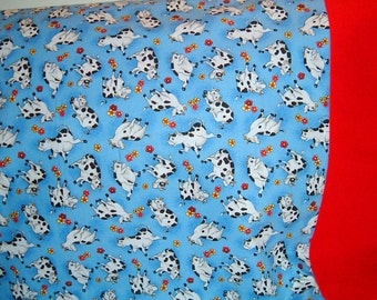 SALE    -------    Cows and Flowers  Pillowcase