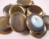 Vintage Brass Round Lockets with Patina SECONDS
