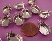 12 Silver Tone Pear Prong Settings 18x13 1 Ring Closed Backs