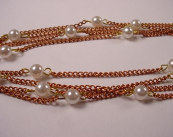 6 feet Vintage Copper Chain and Pearls