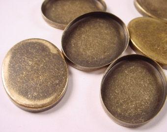 6 Brass Ox Oval Bezel Cups 30x23 High Wall Rustic Look