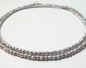 "Matte Aluminum 32"" Strand Necklace, Choker, Czech Glass Necklace"