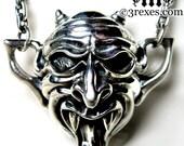 Silver Vampire Necklace Gothic Gargoyle Devil
