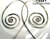 Spiral Earrings Lightweight Silver Hammered Hoops Whimsical Design