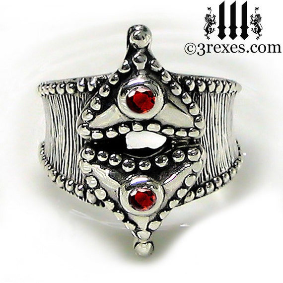 RESERVED Gothic Ring Fairy Tale Heart Engagement Band Medieval Silver Red Garnet Size 10.5