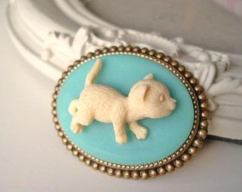 Hair Clip kawaii fairy kei lolita accessory white kitty cat cameo kanzashi blue
