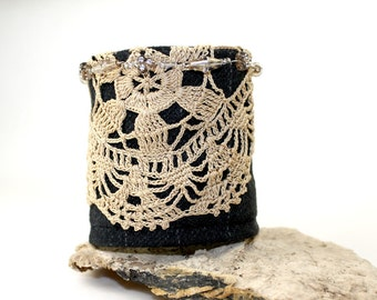 Gatsby Victorian lace beaded cuff on black wool