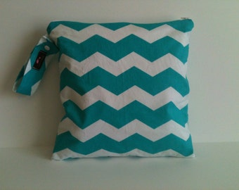Wet Bag For Cloth Diapers,Wet Bag, Cloth Diaper Wet Bag, Diaper Bag,Cloth Pads,Aqua Chevron