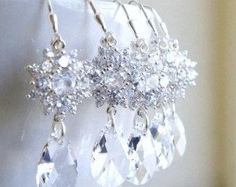 Swarovski Crystal Cushion CZ Sterling Silver Earrings 3 pairs