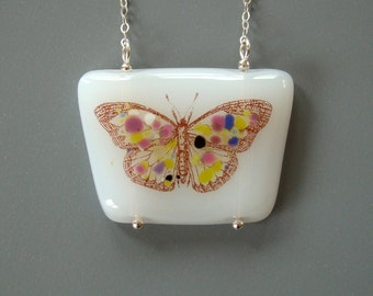 Butterfly Fused Glass Necklace Sterling Silver Moth Multicolor