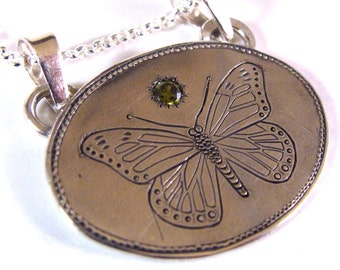 Hand Engraved Sterling Silver Butterfly Necklace