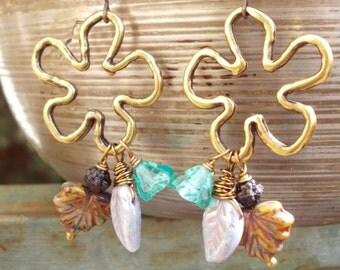 Extra long earrings leaves and flowers glass brass dangle chandelier earrings inspired by nature women girl rustic gifts under 20 dollar