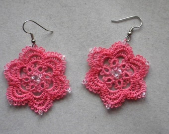 Large coral pink tatted earrings with swarovski crystals, tatting lace jewelry, lightweight, handmade lace jewelry