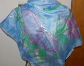 Hand Painted Silk Scarf Pond Butterfly