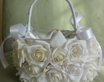 Flower Girl Bridal Basket Wedding Basket White Roses