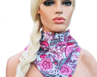 Triangle Scarf or Bandana Headwrap Summer Floral