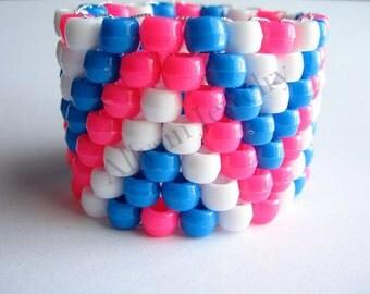 Zigzag Kandi Cuff, Pink Blue Bracelet, Plur Rave Jewelry, White Zig Zags