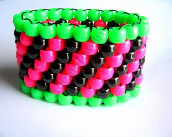 Pink, Green Kandi Cuff, Black Bracelet, Watermelon Colors, Diagonal Pattern,  Plur Rave Jewelry