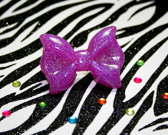 Purple Bow Ring, Sparkle Resin, Kawaii Lolita, Sparkly Glitter Jewelry, Adjustable