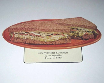 Vintage Food or Nutrition Die Cut Cardboard School Decoration of a Raw Vegetable Sandwich on a Plate