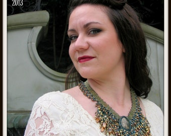 CLEARANCE Beadwoven Fringed Egyptian Queen Necklace by Hannah Rosner
