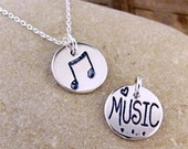 Music Note Necklace - Silver Music Jewelry - Love Music Charm #SDC-36