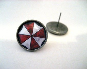 Resident Evil Umbrella Corporation Studs - Red and white umbrella corp logo post earrings - LARGE 14mm - Geek Chic Gamer