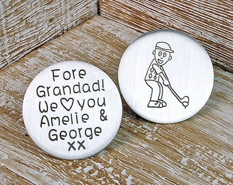 Personalized Silver Golf Ball Marker - Father's Day Gift - Father's Day Golf Ball Marker - Personalised Daddy Golf Ball Marker