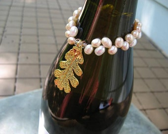 Sale - Free US Shipping - Wine Bottle Charm - Real Oak Leaf - 24k Gold - Freshwater Pearls