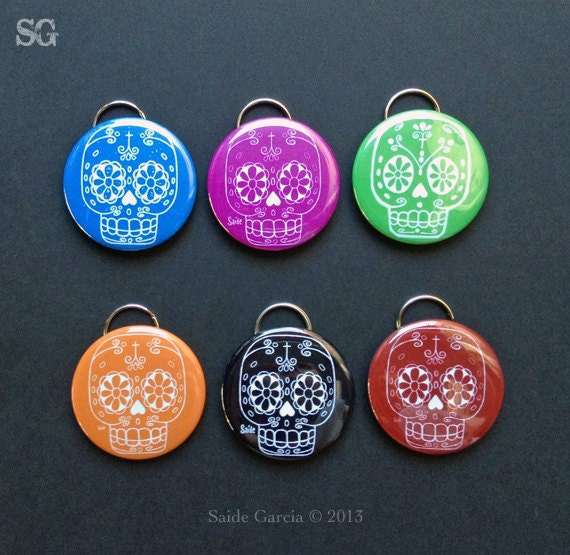 Sugar Skull Keychain bottle opener by saide on Etsy