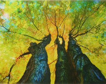 Tree art, 16x20, The Ladies dance, autumn trees, art, photography, nature, Michigan Artist, Gift Ideas / Gardener & Naturalist, tree art