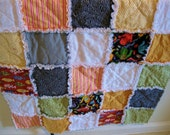 Multi colored light weight cotton and flannel rag quilt / Ready to Ship /