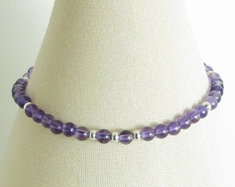 Petite Amethyst and Sterling Silver Bracelet