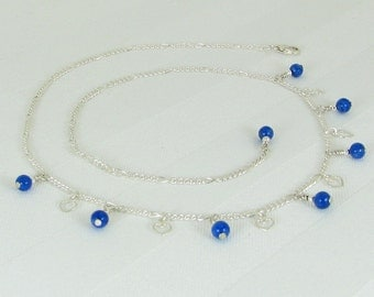 Lapis Lazuli and Hearts Sterling Silver Chain Adjustable Necklace