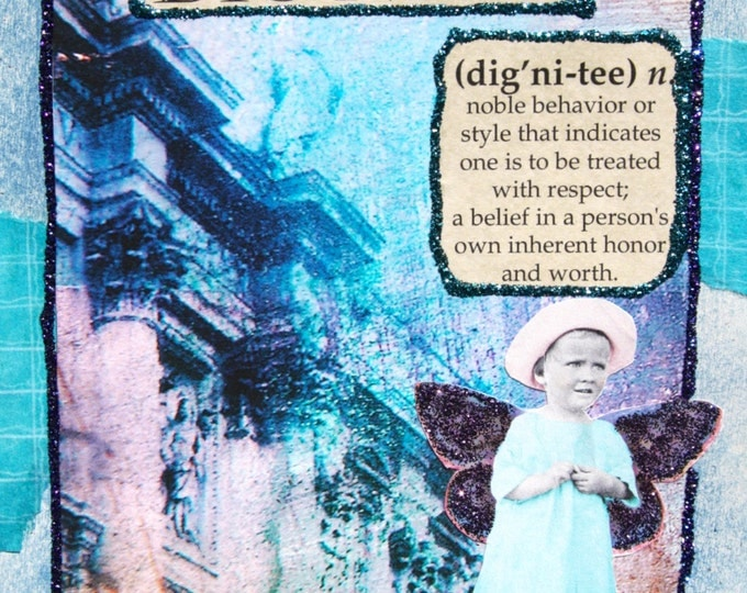 Handmade Altered Art Folded Greeting Card, Clothed in Dignity and Strength, Aqua, Blue, Purple, Fairy, Mixed Media, Size 5x7, Blank Inside