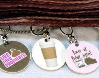 STITCHMARKERS for KNITTERS or CROCHETERS, Pms Survival Kit: Coffee and Chocolate