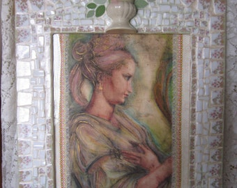 Lady, China Mosaic Mirror, Framed Art with Print Cover
