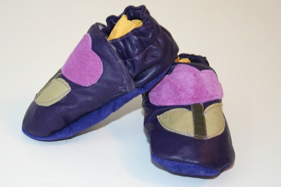 recycled purple leather crib shoes soft baby shoes moccasins