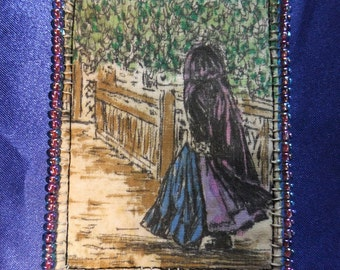 Tiny Art Quilt ATC Woman on a Bridge Wearing a Purple Cloak
