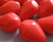 Vintage Glass Beads (8)(15x10mm) Red German Bead Drop (these are red)