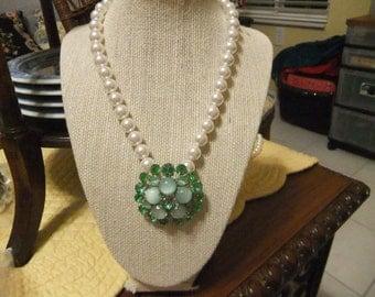 Wedding Pearl Necklace with Vintage Green Rhinestone Brooch