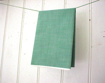 Chambray selvedge pocket square, handkerchief - green sun washed spruce - eco vintage fabric