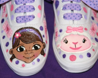 Girl's Custom Painted Tennis Shoes DOC MCSTUFFINS INSPIRED Any Size